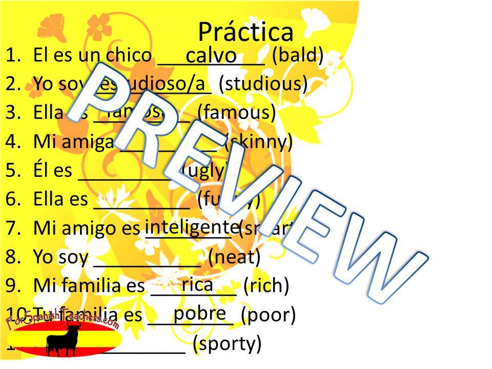 Práctica 1.El es un chico __________ (bald) 2.Yo soy ___________ (studious) 3.Ella es _________ (famous) 4.Mi amiga _________ (skinny) 5.Él es _________ (ugly) 6.Ella es _________ (funny) 7.Mi amigo es ________ (smart) 8.Yo soy __________ (neat) 9.Mi familia es ________ (rich) 10.Tu familia es ________ (poor) 11.Él es __________ (sporty) calvo estudioso/a famosa inteligente rica pobre
