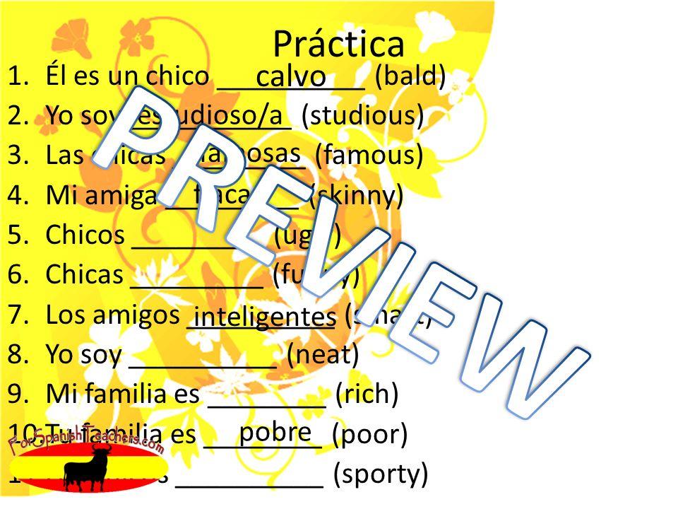 Práctica 1.Él es un chico __________ (bald) 2.Yo soy ___________ (studious) 3.Las chicas _________ (famous) 4.Mi amiga _________ (skinny) 5.Chicos _________ (ugly) 6.Chicas _________ (funny) 7.Los amigos __________ (smart) 8.Yo soy __________ (neat) 9.Mi familia es ________ (rich) 10.Tu familia es ________ (poor) 11.Los chicos __________ (sporty) calvo estudioso/a famosas flaca inteligentes pobre