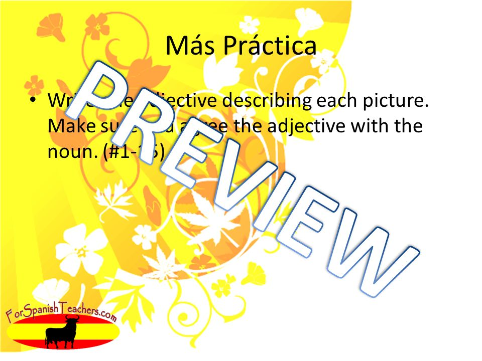 Más Práctica Write one adjective describing each picture. Make sure you agree the adjective with the noun. (#1-15)