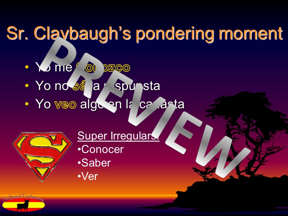 Sr. Claybaughs pondering moment Super Irregulars: Conocer Saber Ver