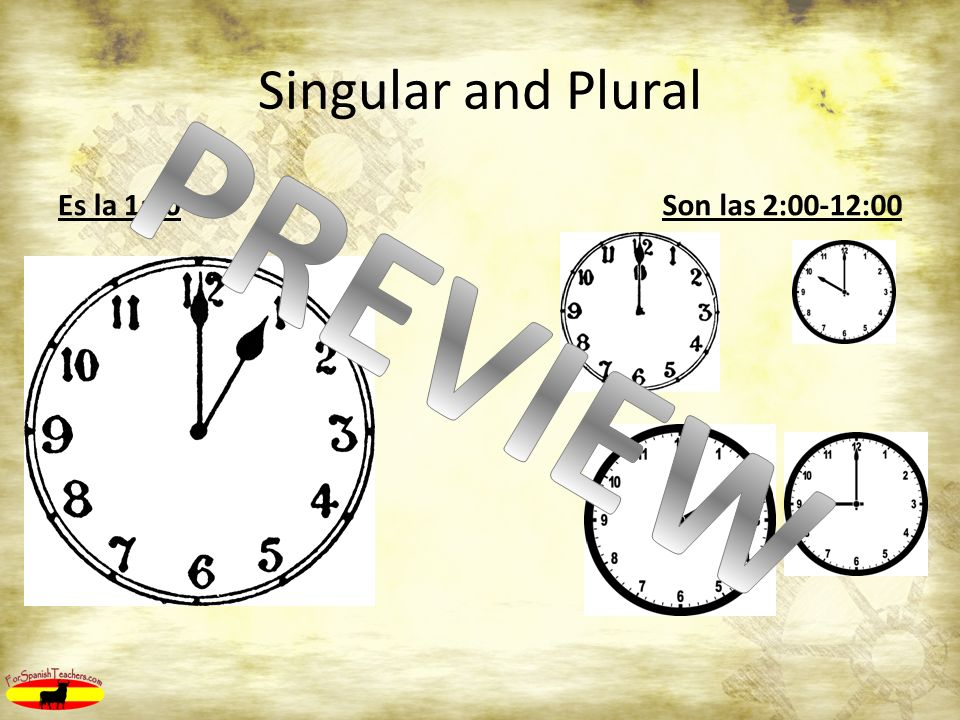 Singular and Plural Es la 1:00Son las 2:00-12:00
