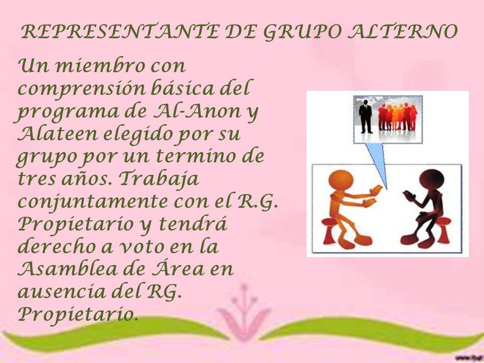 REPRESENTANTE DE GRUPO ALTERNO Un miembro con comprensión básica del programa de Al-Anon y Alateen elegido por su grupo por un termino de tres años. T
