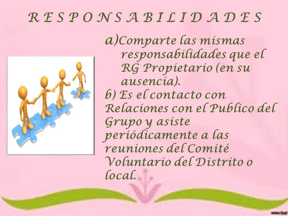 R E S P O N S A B I L I D A D E S a) Comparte las mismas responsabilidades que el RG Propietario (en su ausencia). b) Es el contacto con Relaciones co