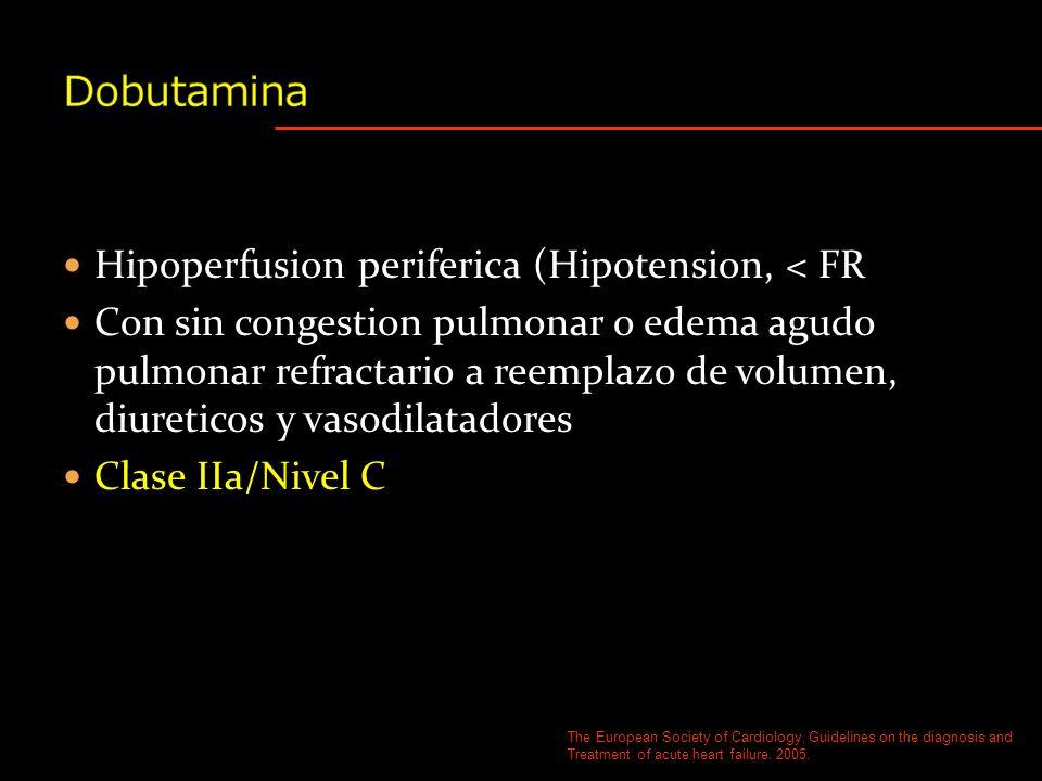Hipotension/oliguria Clase IIB/Nivel C DOPAMINA The European Society of Cardiology, Guidelines on the diagnosis and Treatment of acute heart failure.
