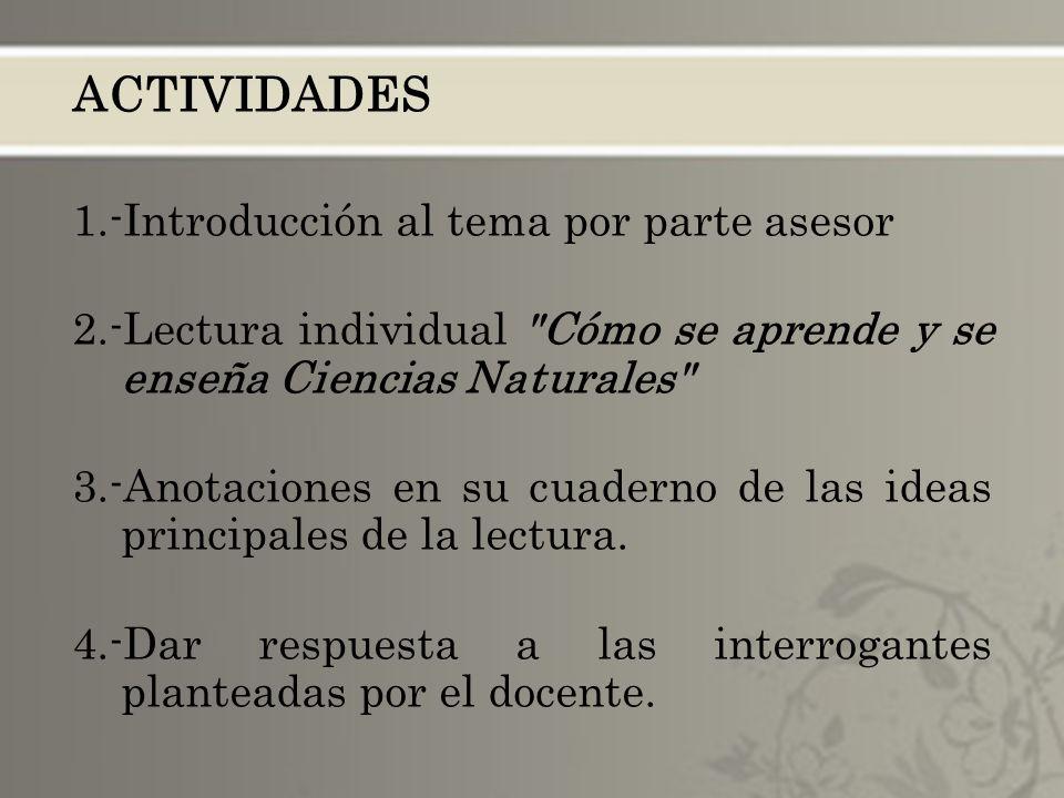 ACTIVIDADES 1.-Introducción al tema por parte asesor 2.-Lectura individual