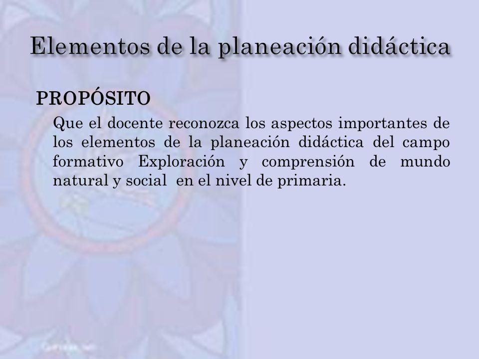PROPÓSITO Que el docente reconozca los aspectos importantes de los elementos de la planeación didáctica del campo formativo Exploración y comprensión