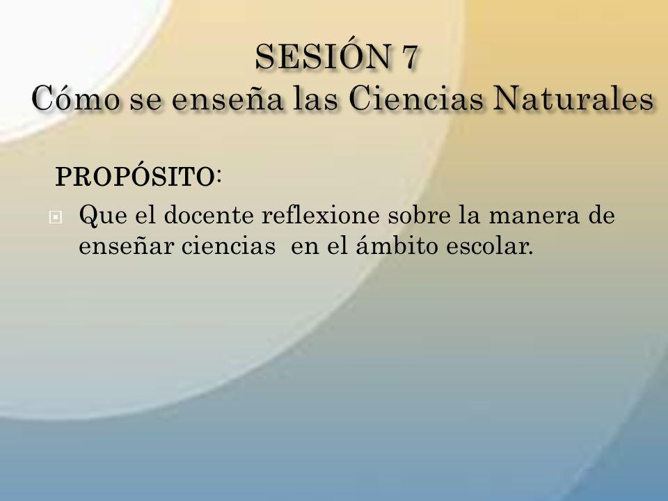 PROPÓSITO: Que el docente reflexione sobre la manera de enseñar ciencias en el ámbito escolar.