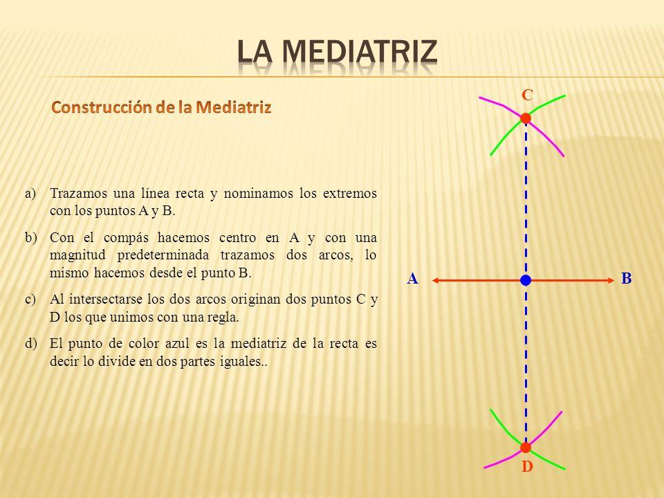 AB D C a)Trazamos una línea recta y nominamos los extremos con los puntos A y B.