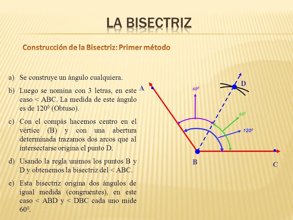 a)Se construye un ángulo cualquiera.b)Luego se nomina con 3 letras, en este caso < ABC.