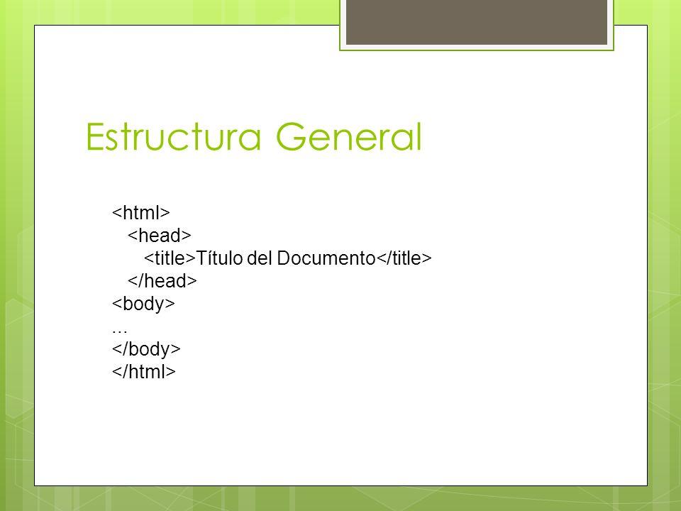 Estructura General Título del Documento...