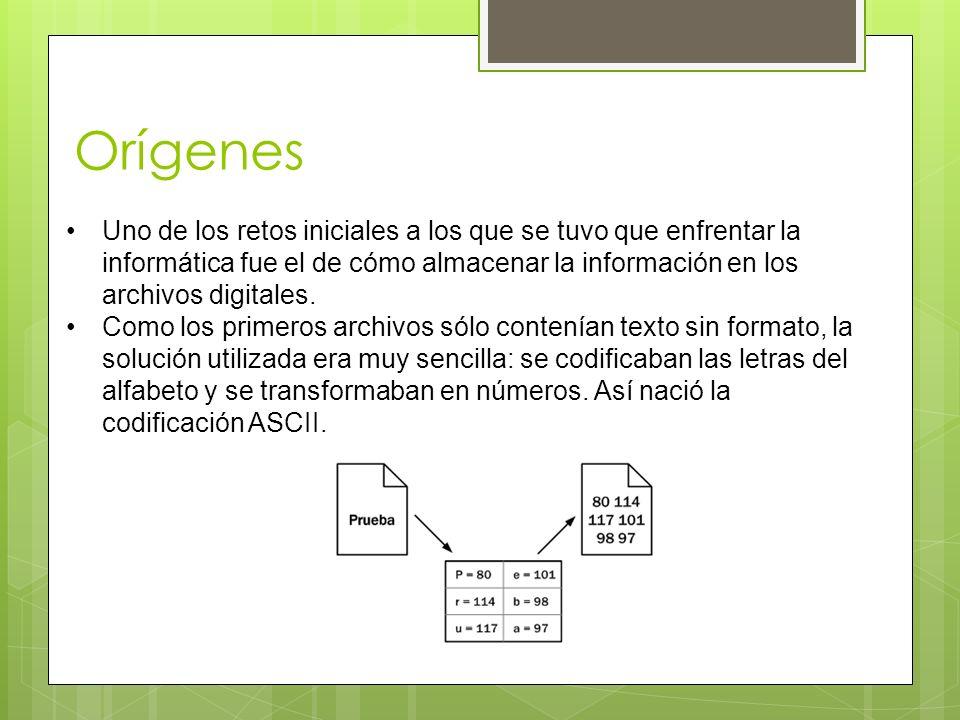 Orígenes Uno de los retos iniciales a los que se tuvo que enfrentar la informática fue el de cómo almacenar la información en los archivos digitales.