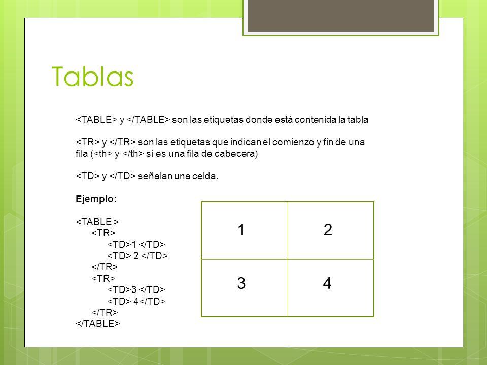 Tablas y son las etiquetas donde está contenida la tabla y son las etiquetas que indican el comienzo y fin de una fila ( y si es una fila de cabecera)