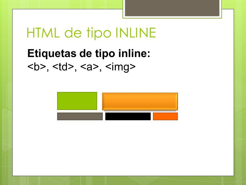 HTML de tipo INLINE Etiquetas de tipo inline:,,,