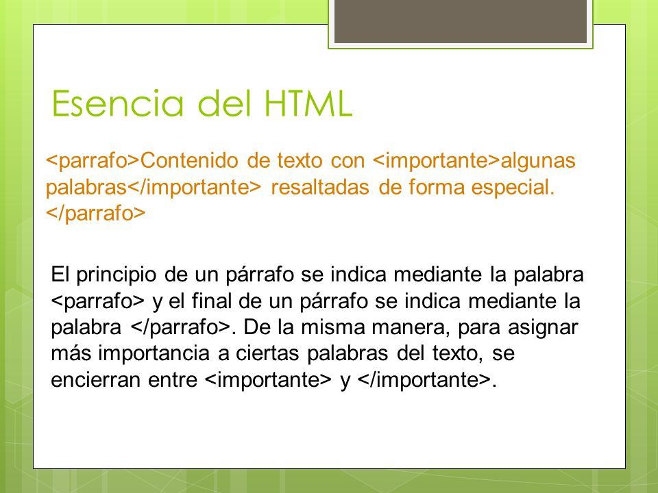 Esencia del HTML Contenido de texto con algunas palabras resaltadas de forma especial. El principio de un párrafo se indica mediante la palabra y el f