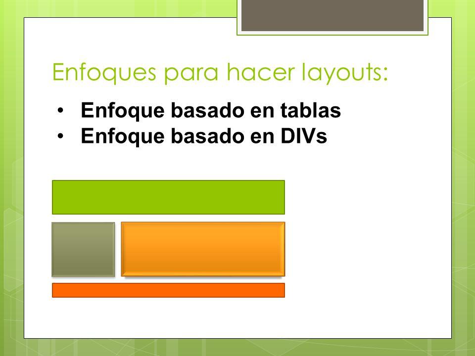 Enfoques para hacer layouts: Enfoque basado en tablas Enfoque basado en DIVs