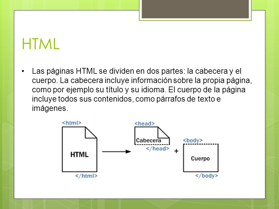HTML Las páginas HTML se dividen en dos partes: la cabecera y el cuerpo. La cabecera incluye información sobre la propia página, como por ejemplo su t