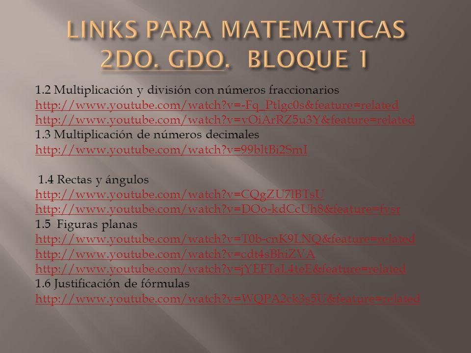 1.2 Multiplicación y división con números fraccionarios http://www.youtube.com/watch?v=-Fq_Ptlgc0s&feature=related http://www.youtube.com/watch?v=vOiA