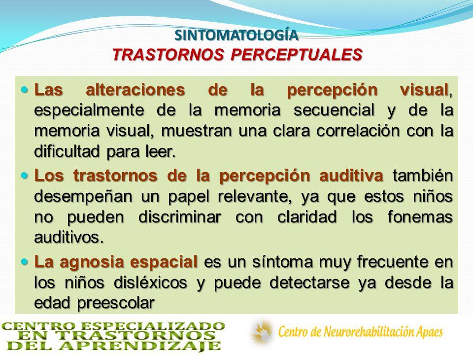 SINTOMATOLOGÍA TRASTORNOS PERCEPTUALES Las alteraciones de la percepción visual, especialmente de la memoria secuencial y de la memoria visual, muestr