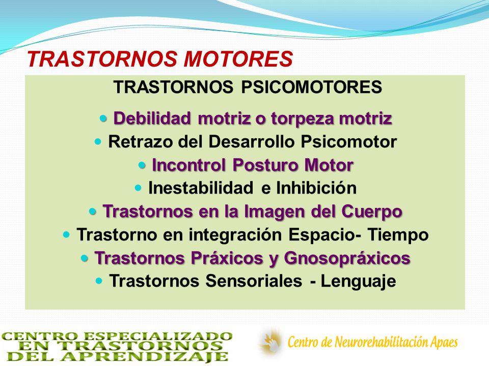 TRASTORNOS MOTORES TRASTORNOS PSICOMOTORES Debilidad motriz o torpeza motriz Debilidad motriz o torpeza motriz Retrazo del Desarrollo Psicomotor Incon