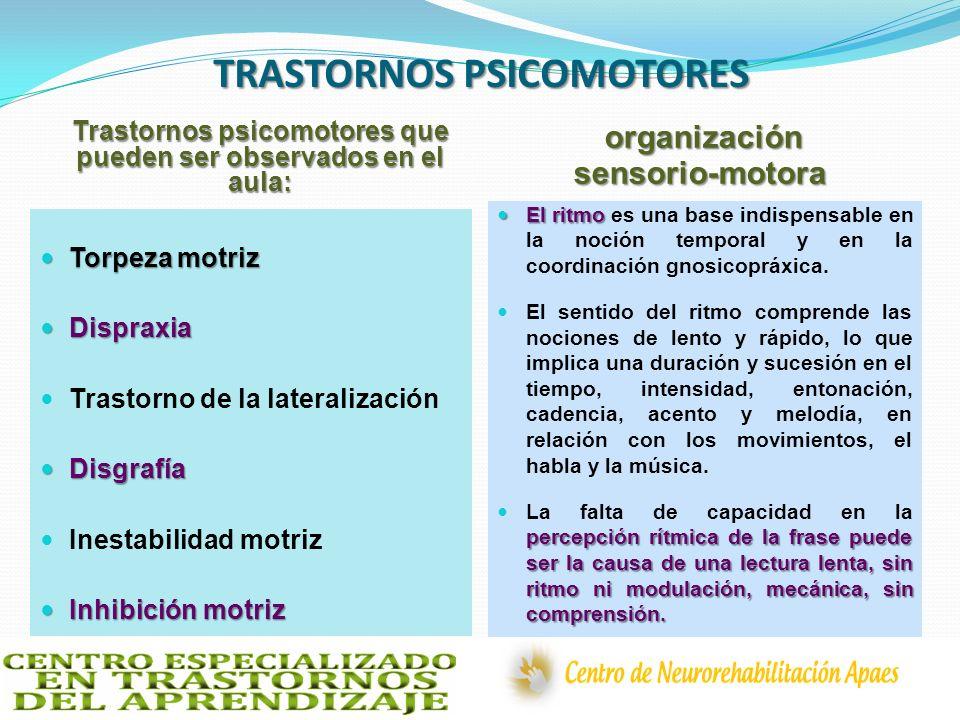 TRASTORNOS PSICOMOTORES Trastornos psicomotores que pueden ser observados en el aula: organización sensorio-motora Torpeza motriz Torpeza motriz Dispr