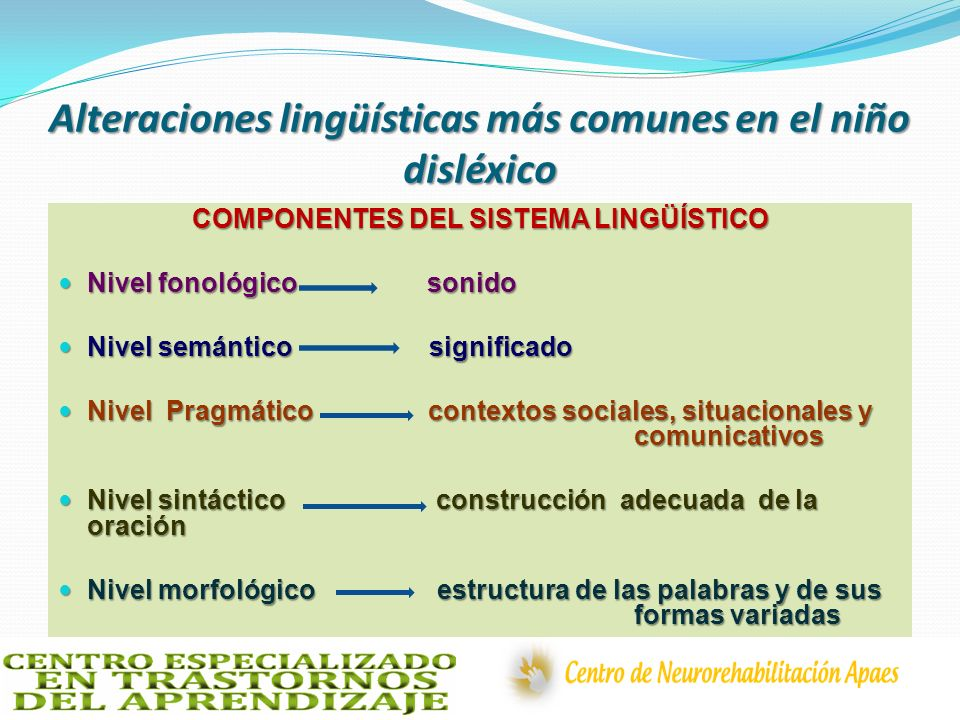 Alteraciones lingüísticas más comunes en el niño disléxico COMPONENTES DEL SISTEMA LINGÜÍSTICO Nivel fonológico sonido Nivel fonológico sonido Nivel s