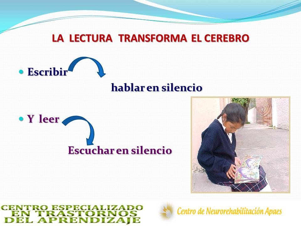 LA LECTURA TRANSFORMA EL CEREBRO Escribir Escribir hablar en silencio hablar en silencio Y leer Y leer Escuchar en silencio Escuchar en silencio
