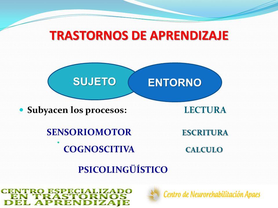 TRASTORNOS DE APRENDIZAJE Subyacen los procesos: LECTURA ESCRITURA SENSORIOMOTOR ESCRITURA CALCULO COGNOSCITIVA CALCULO PSICOLINGÜÍSTICO SUJETOENTORNO