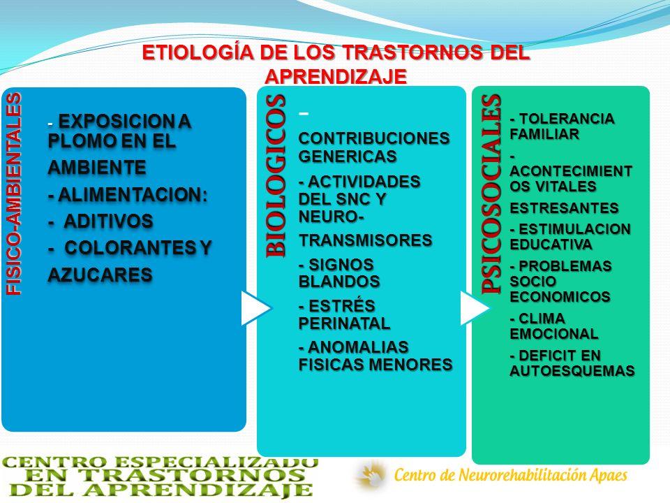 ETIOLOGÍA DE LOS TRASTORNOS DEL APRENDIZAJE FISICO-AMBIENTALES - EXPOSICION A PLOMO EN EL AMBIENTE - ALIMENTACION: - ADITIVOS - COLORANTES Y AZUCARES