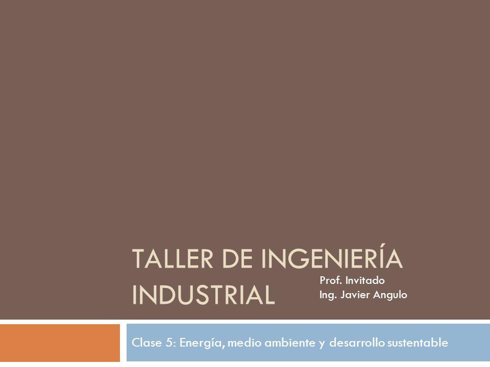 TALLER DE INGENIERÍA INDUSTRIAL Clase 5: Energía, medio ambiente y desarrollo sustentable Prof. Invitado Ing. Javier Angulo