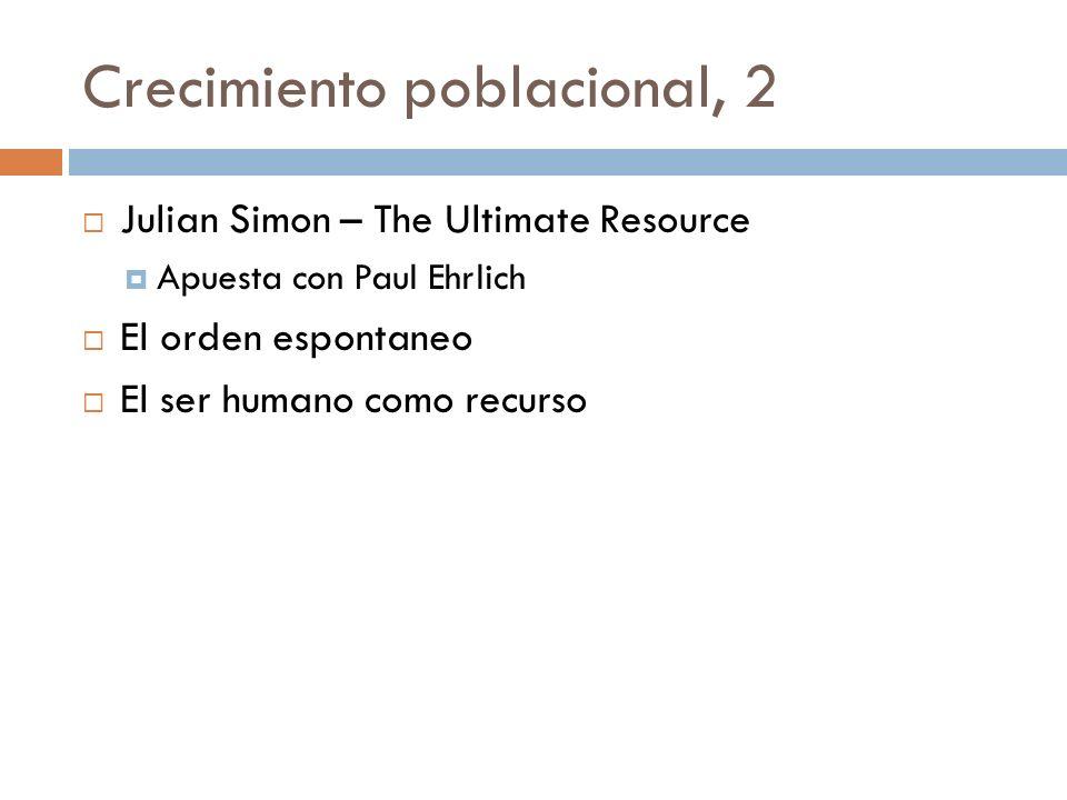 Crecimiento poblacional, 2 Julian Simon – The Ultimate Resource Apuesta con Paul Ehrlich El orden espontaneo El ser humano como recurso