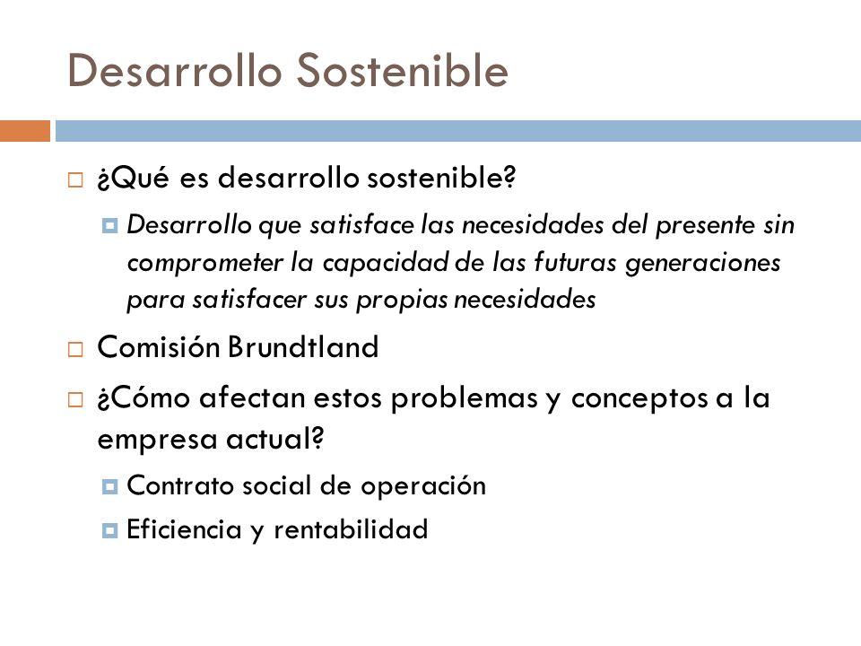 Desarrollo Sostenible ¿Qué es desarrollo sostenible? Desarrollo que satisface las necesidades del presente sin comprometer la capacidad de las futuras