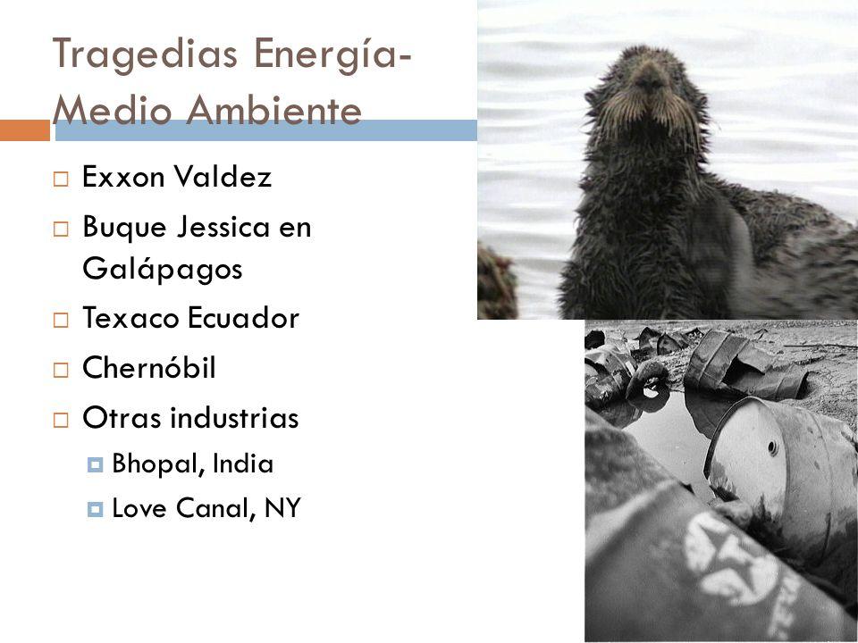 Tragedias Energía- Medio Ambiente Exxon Valdez Buque Jessica en Galápagos Texaco Ecuador Chernóbil Otras industrias Bhopal, India Love Canal, NY