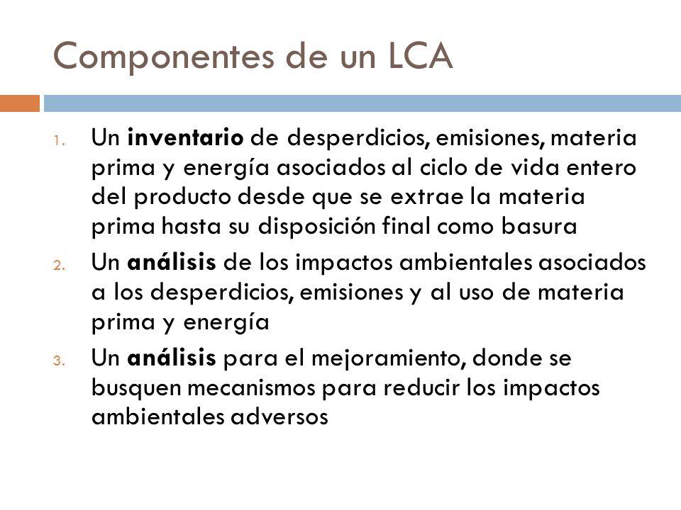 Componentes de un LCA 1. Un inventario de desperdicios, emisiones, materia prima y energía asociados al ciclo de vida entero del producto desde que se