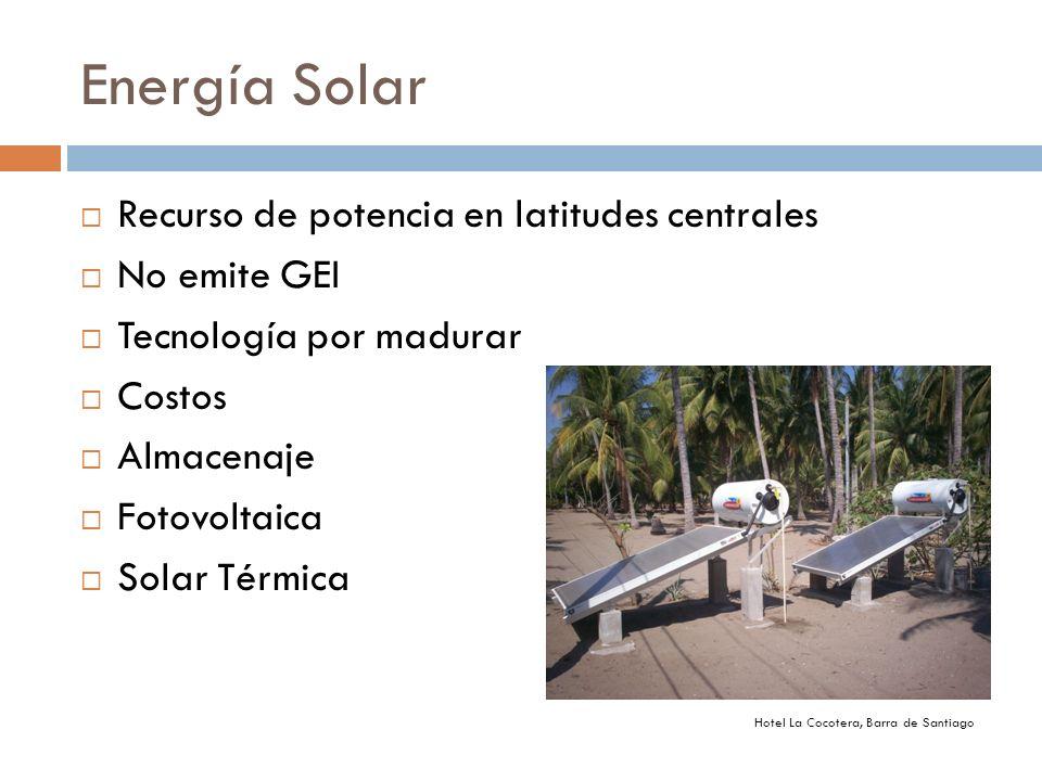 Energía Solar Recurso de potencia en latitudes centrales No emite GEI Tecnología por madurar Costos Almacenaje Fotovoltaica Solar Térmica Hotel La Coc
