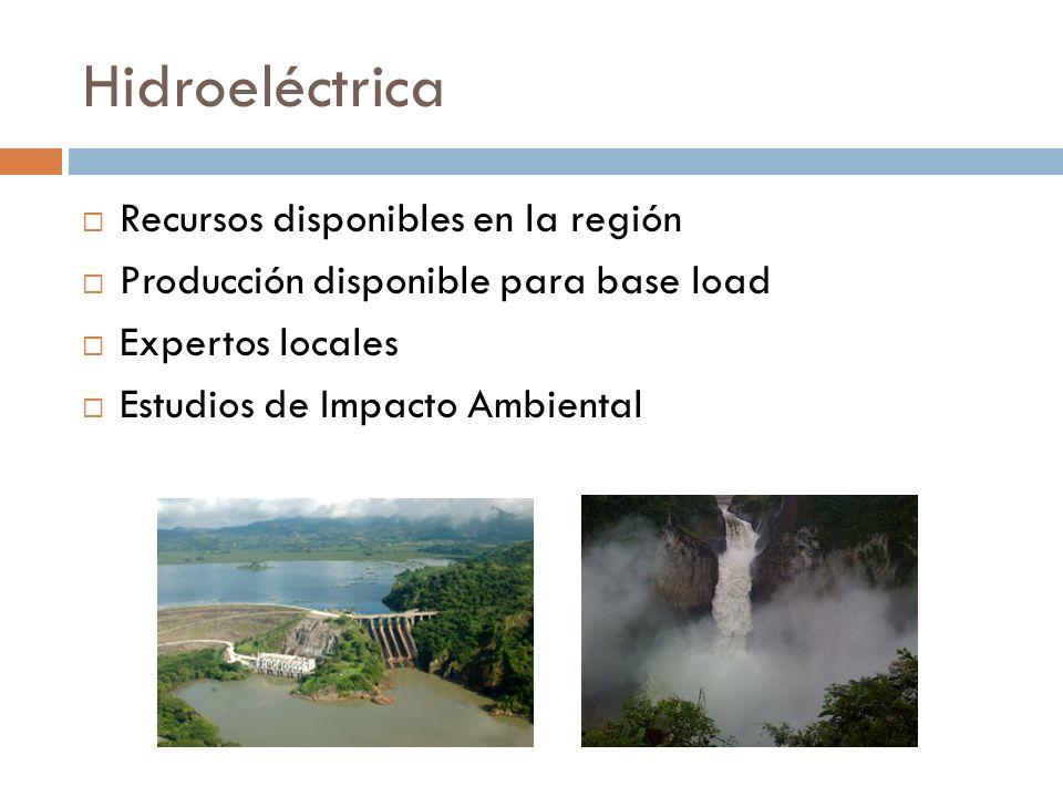 Hidroeléctrica Recursos disponibles en la región Producción disponible para base load Expertos locales Estudios de Impacto Ambiental