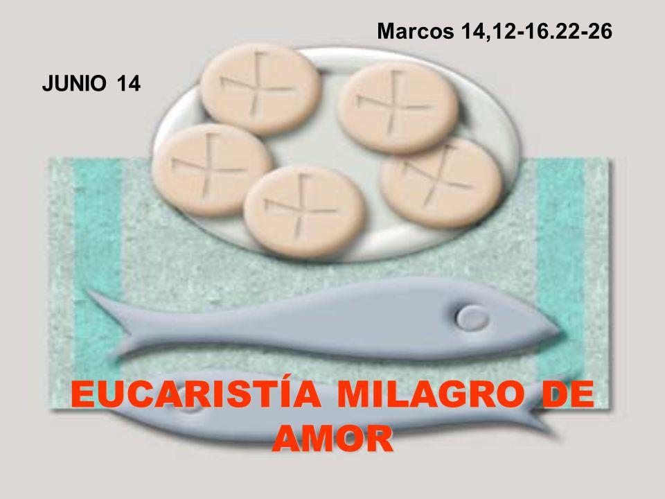 EUCARISTÍA MILAGRO DE AMOR JUNIO 14 Marcos 14,12-16.22-26