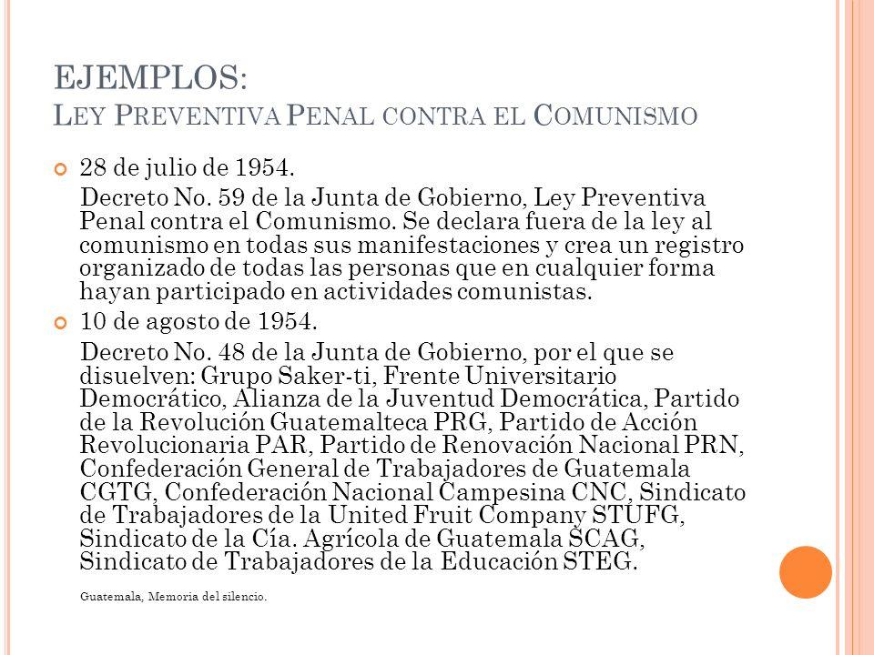 EJEMPLOS: L EY P REVENTIVA P ENAL CONTRA EL C OMUNISMO 28 de julio de 1954. Decreto No. 59 de la Junta de Gobierno, Ley Preventiva Penal contra el Com