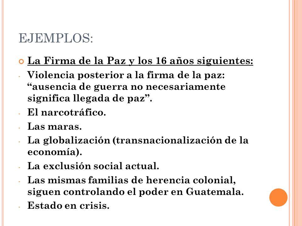 EJEMPLOS: La Firma de la Paz y los 16 años siguientes: - Violencia posterior a la firma de la paz: ausencia de guerra no necesariamente significa lleg