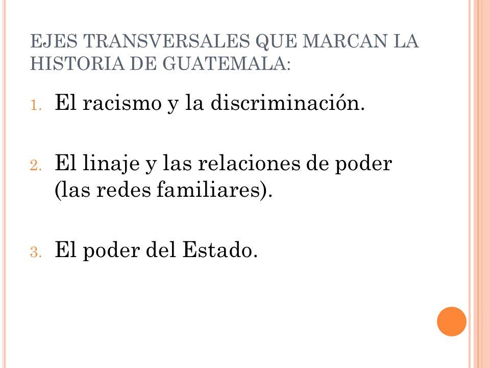 EJES TRANSVERSALES QUE MARCAN LA HISTORIA DE GUATEMALA: 1. El racismo y la discriminación. 2. El linaje y las relaciones de poder (las redes familiare