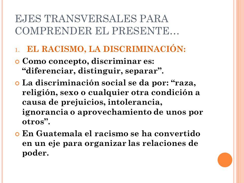 EJES TRANSVERSALES PARA COMPRENDER EL PRESENTE… 1. EL RACISMO, LA DISCRIMINACIÓN: Como concepto, discriminar es: diferenciar, distinguir, separar. La