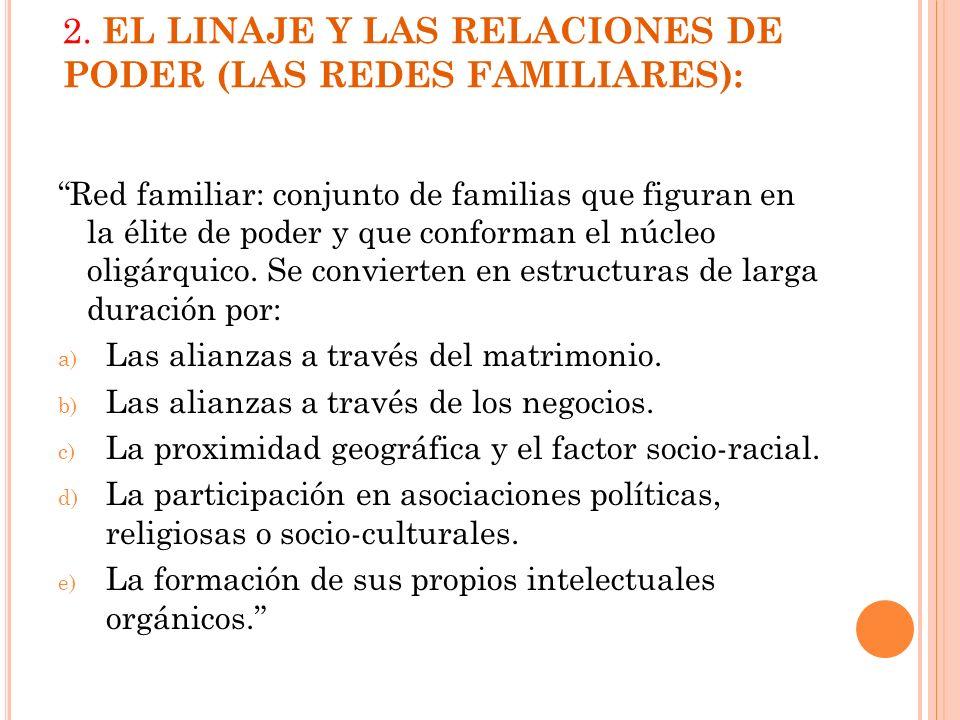 2. EL LINAJE Y LAS RELACIONES DE PODER (LAS REDES FAMILIARES): Red familiar: conjunto de familias que figuran en la élite de poder y que conforman el