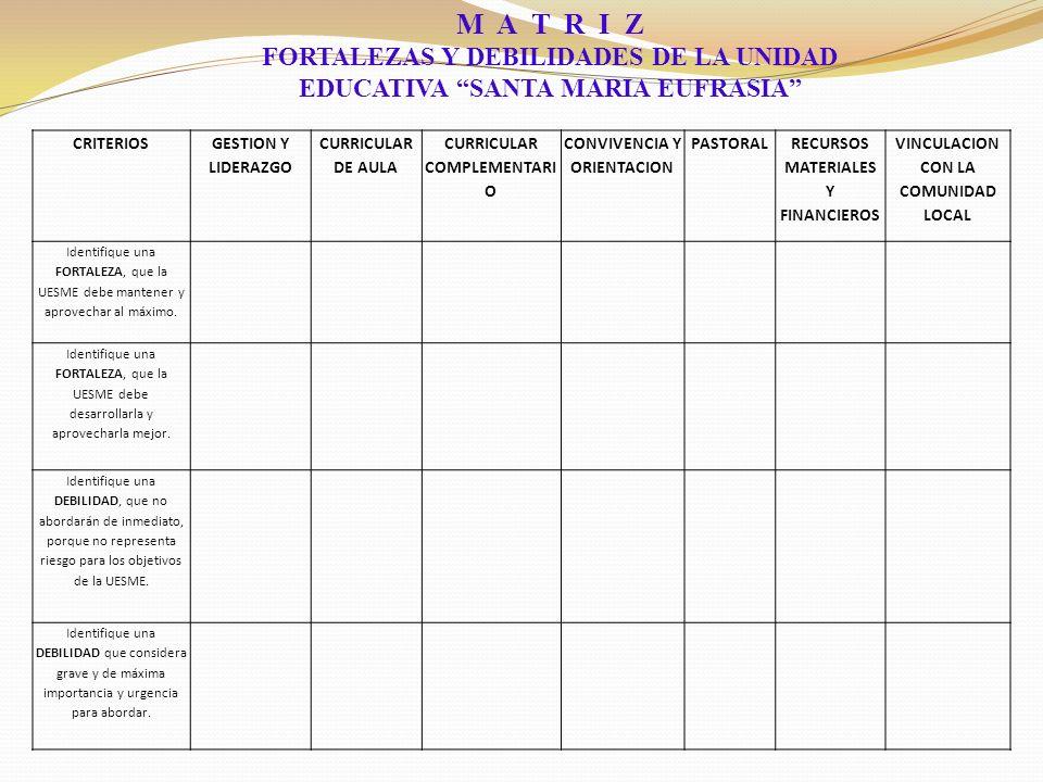 CRITERIOS GESTION Y LIDERAZGO CURRICULAR DE AULA CURRICULAR COMPLEMENTARI O CONVIVENCIA Y ORIENTACION PASTORAL RECURSOS MATERIALES Y FINANCIEROS VINCULACION CON LA COMUNIDAD LOCAL Identifique una FORTALEZA, que la UESME debe mantener y aprovechar al máximo.