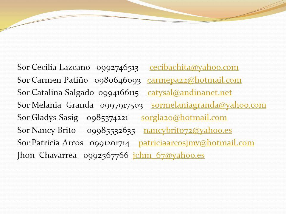 Sor Cecilia Lazcano 0992746513 cecibachita@yahoo.comcecibachita@yahoo.com Sor Carmen Patiño 0980646093 carmepa22@hotmail.comcarmepa22@hotmail.com Sor Catalina Salgado 0994166115 catysal@andinanet.netcatysal@andinanet.net Sor Melania Granda 0997917503 sormelaniagranda@yahoo.comsormelaniagranda@yahoo.com Sor Gladys Sasig 0985374221 sorgla20@hotmail.comsorgla20@hotmail.com Sor Nancy Brito 09985532635 nancybrito72@yahoo.esnancybrito72@yahoo.es Sor Patricia Arcos 0991201714 patriciaarcosjmv@hotmail.compatriciaarcosjmv@hotmail.com Jhon Chavarrea 0992567766 jchm_67@yahoo.esjchm_67@yahoo.es