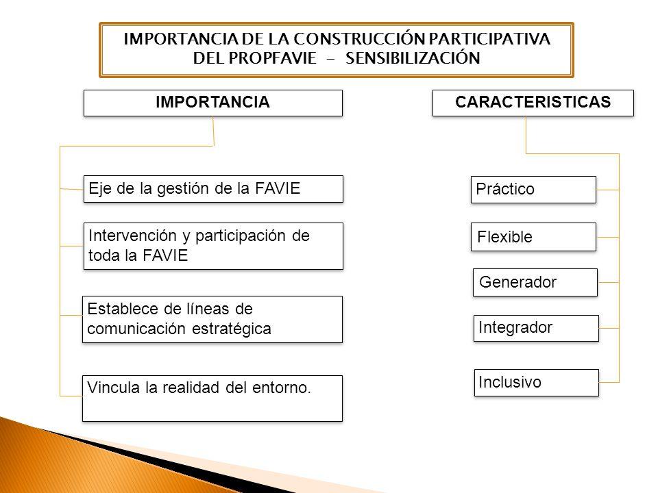 Práctico Flexible Generador Integrador Eje de la gestión de la FAVIE Intervención y participación de toda la FAVIE Vincula la realidad del entorno. Es