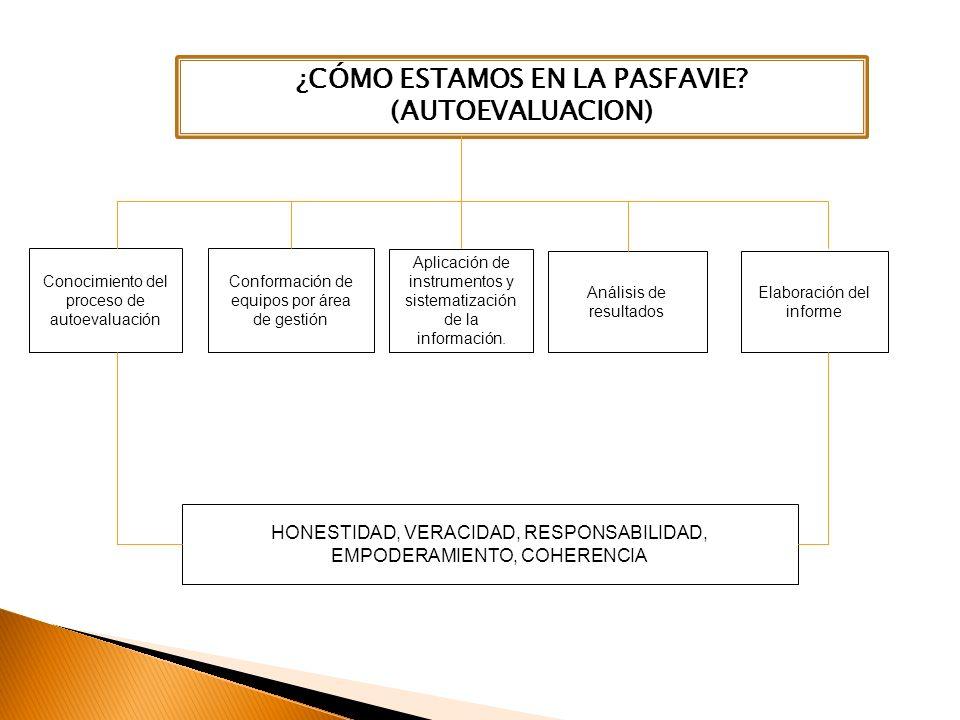 Conocimiento del proceso de autoevaluación Conformación de equipos por área de gestión HONESTIDAD, VERACIDAD, RESPONSABILIDAD, EMPODERAMIENTO, COHERENCIA Elaboración del informe Aplicación de instrumentos y sistematización de la información.
