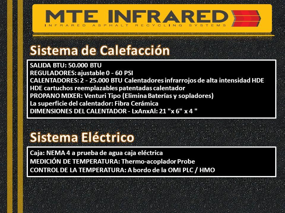 SALIDA BTU: 50.000 BTU REGULADORES: ajustable 0 - 60 PSI CALENTADORES: 2 - 25.000 BTU Calentadores infrarrojos de alta intensidad HDE HDE cartuchos reemplazables patentadas calentador PROPANO MIXER: Venturi Tipo (Elimina Baterías y sopladores) La superficie del calentador: Fibra Cerámica DIMENSIONES DEL CALENTADOR - LxAnxAl: 21 x 6 x 4 SALIDA BTU: 50.000 BTU REGULADORES: ajustable 0 - 60 PSI CALENTADORES: 2 - 25.000 BTU Calentadores infrarrojos de alta intensidad HDE HDE cartuchos reemplazables patentadas calentador PROPANO MIXER: Venturi Tipo (Elimina Baterías y sopladores) La superficie del calentador: Fibra Cerámica DIMENSIONES DEL CALENTADOR - LxAnxAl: 21 x 6 x 4 Caja: NEMA 4 a prueba de agua caja eléctrica MEDICIÓN DE TEMPERATURA: Thermo-acoplador Probe CONTROL DE LA TEMPERATURA: A bordo de la OMI PLC / HMO Caja: NEMA 4 a prueba de agua caja eléctrica MEDICIÓN DE TEMPERATURA: Thermo-acoplador Probe CONTROL DE LA TEMPERATURA: A bordo de la OMI PLC / HMO