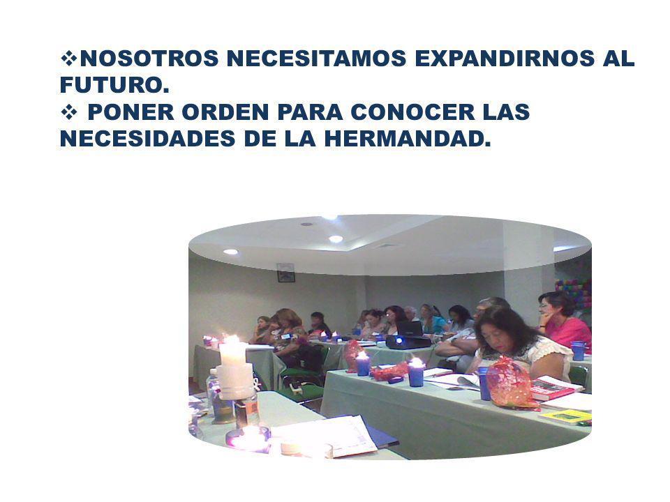 NOSOTROS NECESITAMOS EXPANDIRNOS AL FUTURO. PONER ORDEN PARA CONOCER LAS NECESIDADES DE LA HERMANDAD.