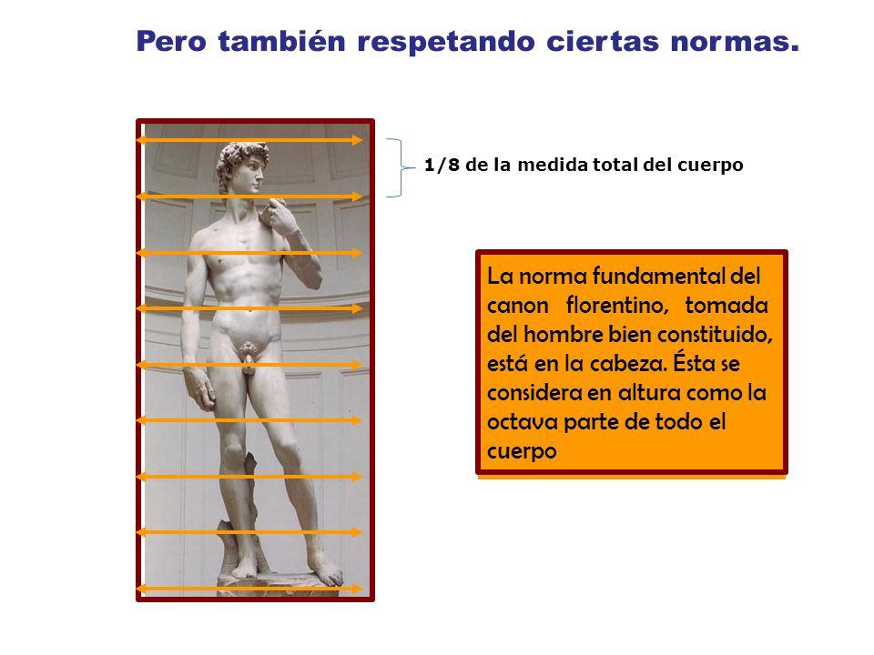 Pero también respetando ciertas normas. 1/8 de la medida total del cuerpo La norma fundamental del canon florentino, tomada del hombre bien constituid