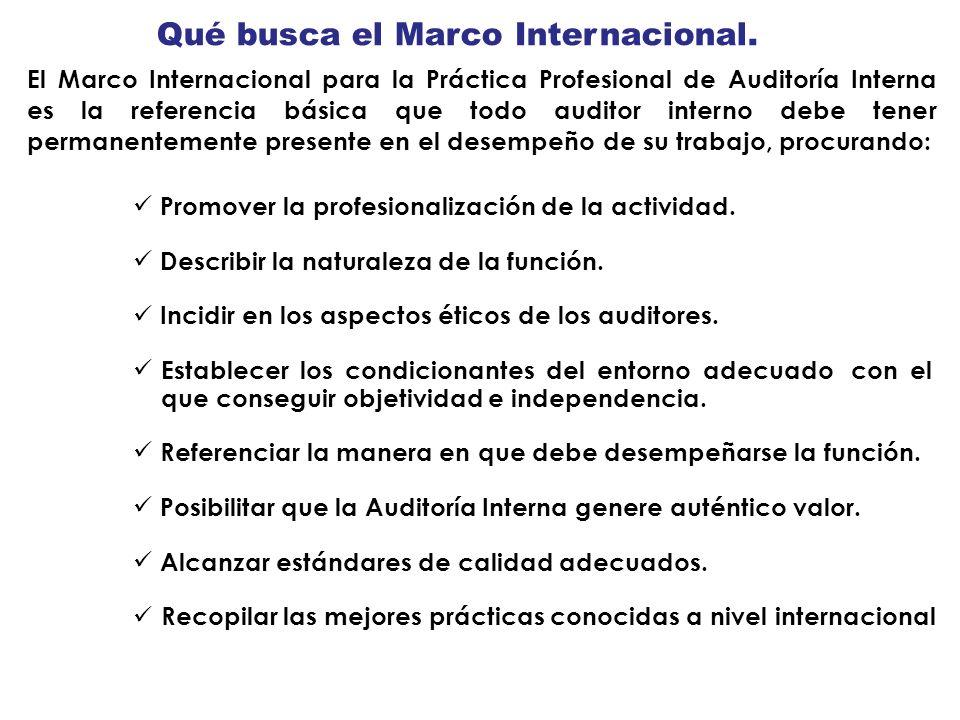 Qué busca el Marco Internacional. El Marco Internacional para la Práctica Profesional de Auditoría Interna es la referencia básica que todo auditor in
