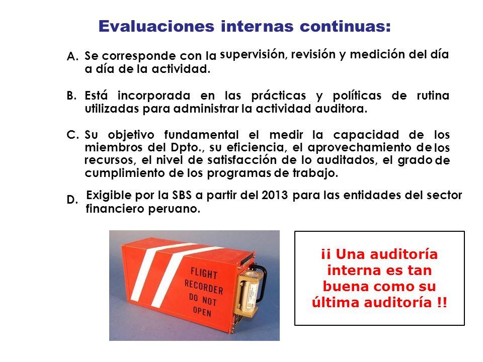 Evaluaciones Se corresponde con la a día de la actividad. internas continuas: supervisión, revisión y medición del día A. B.Estáincorporadaenlasprácti